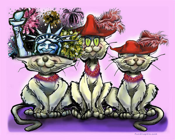 Digital Art - Cats In Crazy Hats by Kevin Middleton
