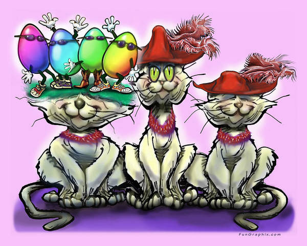 Digital Art - Cats In Easter Hats by Kevin Middleton