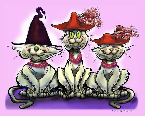 Digital Art - Cats In Fun Hats by Kevin Middleton