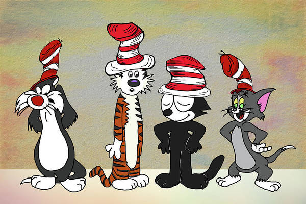 Cat In The Hat Wall Art - Digital Art - Cats In Hats Too by John Haldane