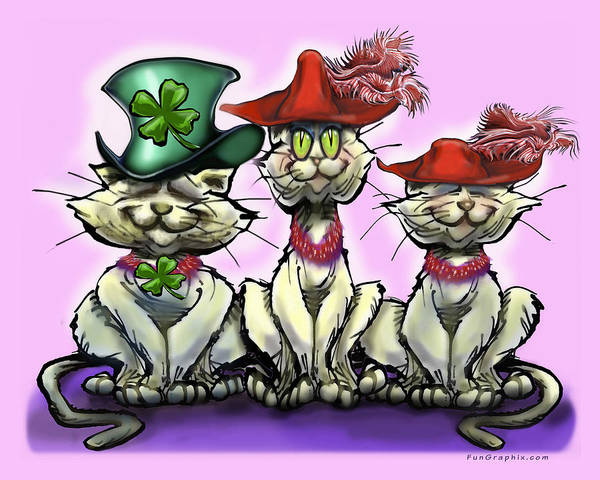 Digital Art - Cats In Lucky Hats by Kevin Middleton