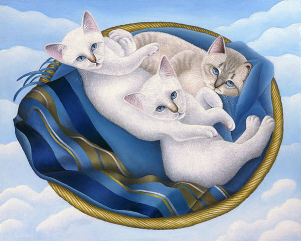Wall Art - Painting - Cats In Sky Basket by Carol Wilson