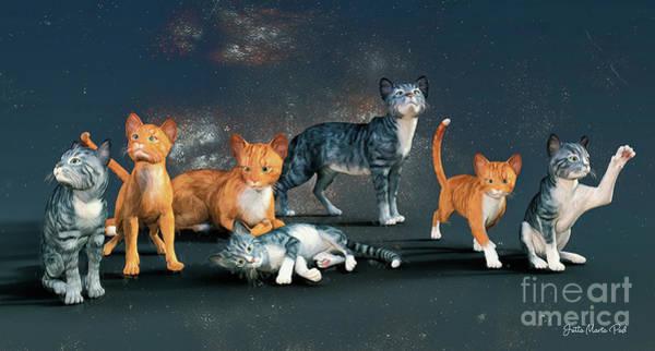 Digital Art - Cats by Jutta Maria Pusl