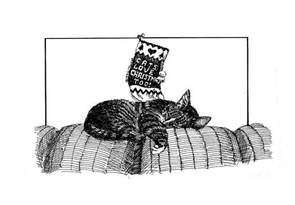 Tabby Drawing - Cats Love Christmas Too by Bill Tomsa