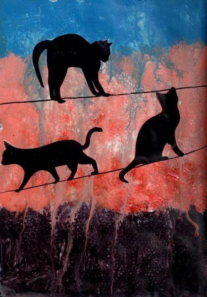Wire Mixed Media - Cats On A Wire by Courtney Putnam