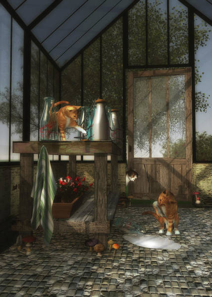 Painting - Cats Playing In The Garden House by Jan Keteleer