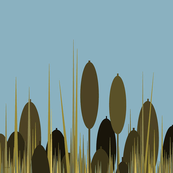 Digital Art - Cattails And Blue Sky by Val Arie