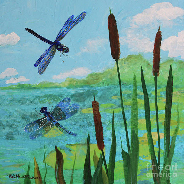Painting - Cattails And Dragonflies by Robin Maria Pedrero