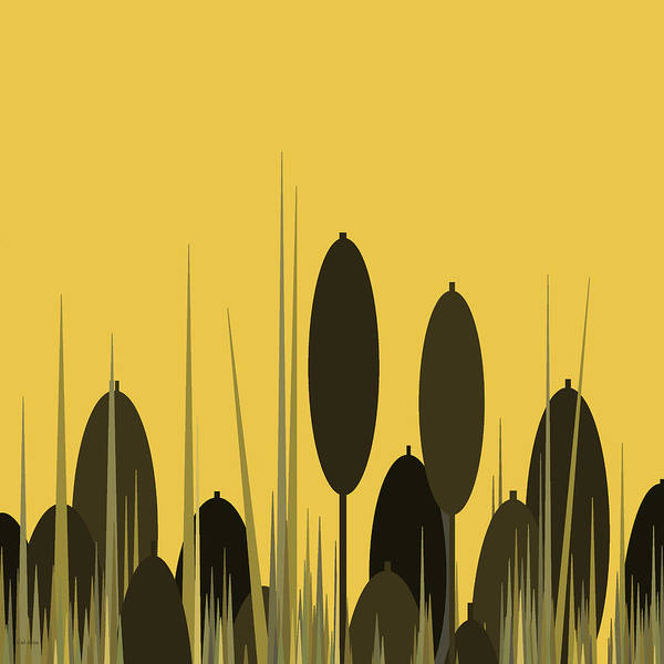 Digital Art - Cattails And Yellow Sky by Val Arie