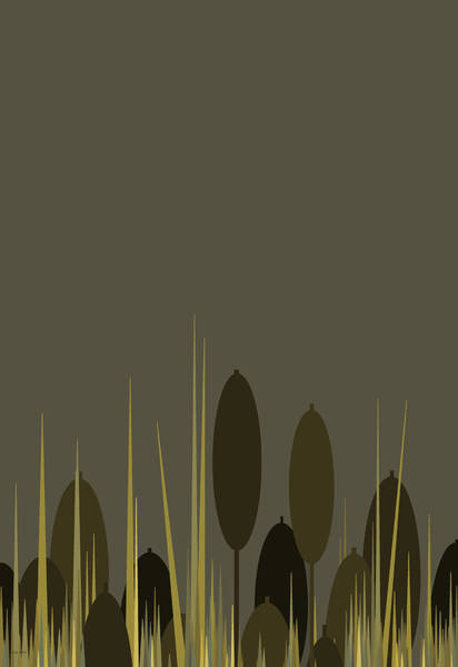 Digital Art - Cattails In The Rain - Vertical by Val Arie