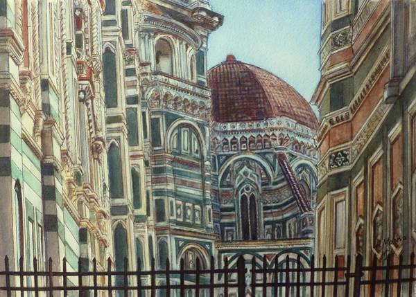 Duomo Di Firenze Wall Art - Painting - Cattedrale Di Santa Maria Del Fiore by Henrieta Maneva