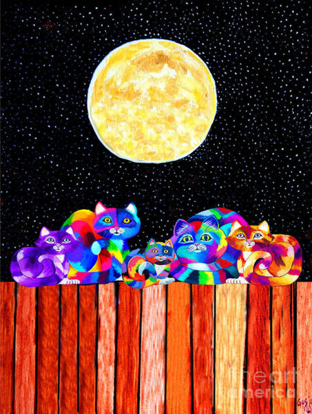 Mammal Mixed Media - Catting In The Moonlight by Nick Gustafson