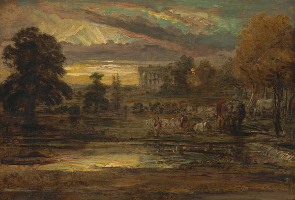 Ward Painting - Cattle At A Pool At Sunrise by James Ward