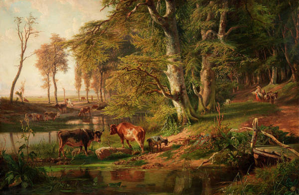 Thicket Wall Art - Painting - Cattle By A Wooded Stream, Oosterbeek by Paul Joseph Constantin Gabriel