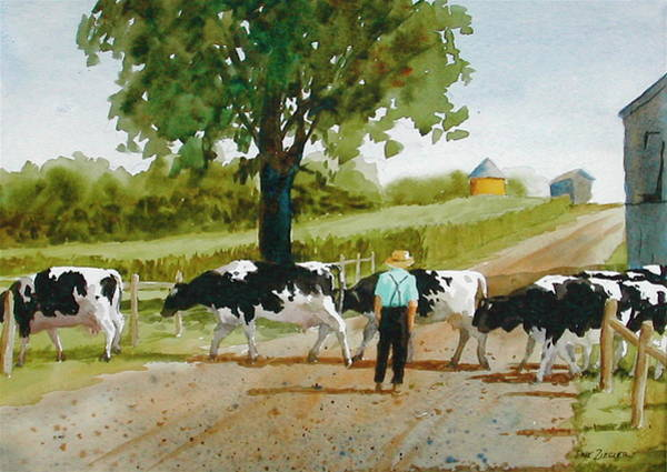 Cows Wall Art - Painting - Cattle Crossing by Faye Ziegler