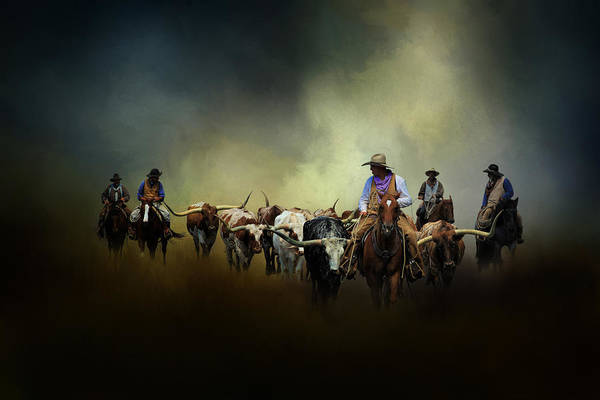 Livestock Photograph - Cattle Drive At Dawn by David and Carol Kelly