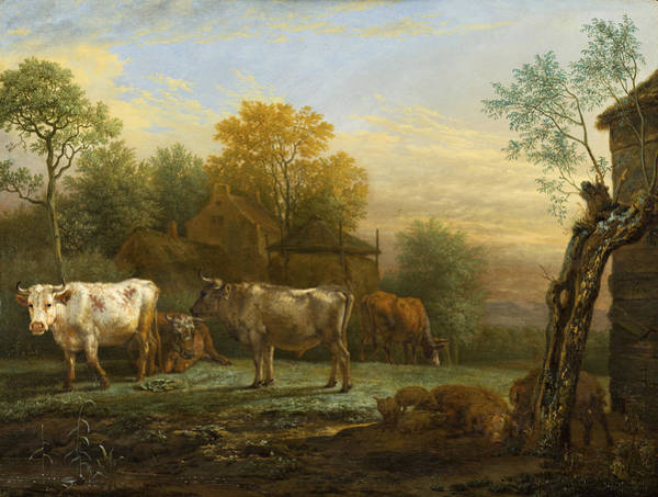 Breeding Painting - Cattle In A Meadow by Paulus Potter