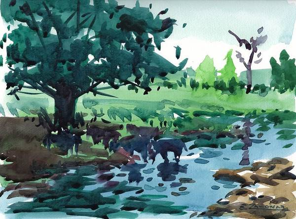 Cattle In The River Art Print