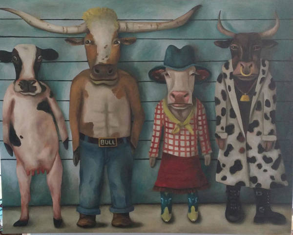 Painting - Cattle Line Up by Leah Saulnier The Painting Maniac