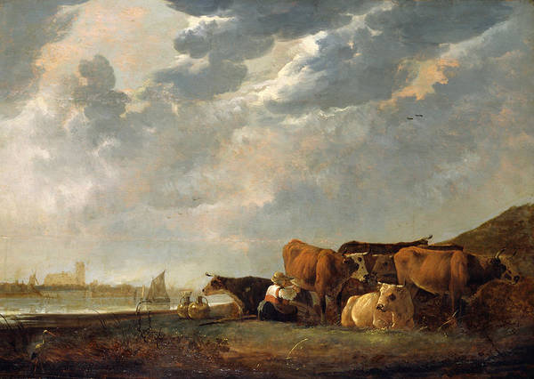 Cuyp Wall Art - Painting - Cattle Near The Maas, With Dordrecht In The Distance by Aelbert Cuyp