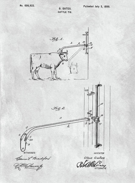 Drawing - Cattle Tie Patent by Dan Sproul