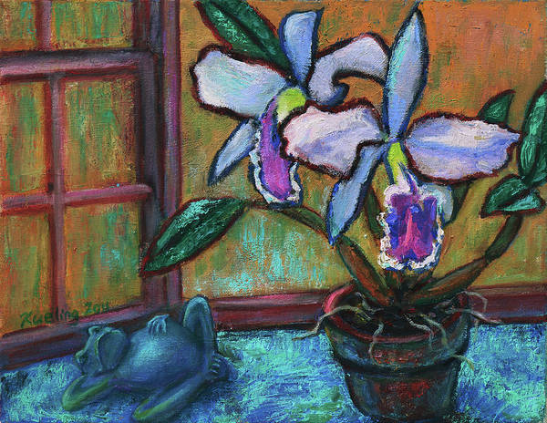 Painting - Cattleya Orchid And Frog By The Window by Xueling Zou