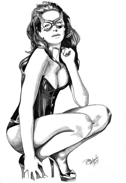 Drawing - Catwoman by Bill Richards