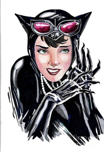 Drawing - Catwoman- Markers by Bill Richards