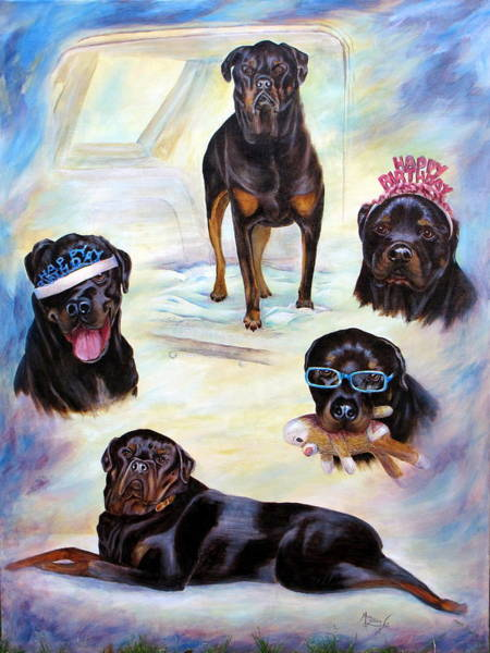 Rottweiler Painting - Caution by Mary Lillian White