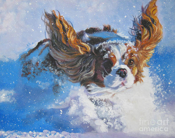 Puppy Painting - Cavalier King Charles Spaniel Blenheim In Snow by Lee Ann Shepard