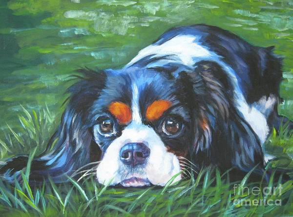 Puppy Painting - Cavalier King Charles Spaniel Tricolor by Lee Ann Shepard