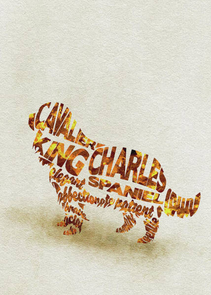 King Charles Spaniel Painting - Cavalier King Charles Spaniel Watercolor Painting / Typographic Art by Inspirowl Design