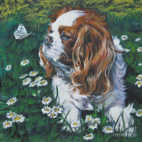 Spaniels Painting - Cavalier King Charles Spaniel With Butterfly by Lee Ann Shepard