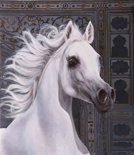 White Horse Painting - Cavallo A Punta by Guido Borelli