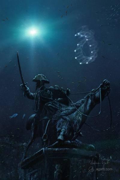 Ocean Scape Digital Art - Cavallo Morente 2 by Andrea Gatti