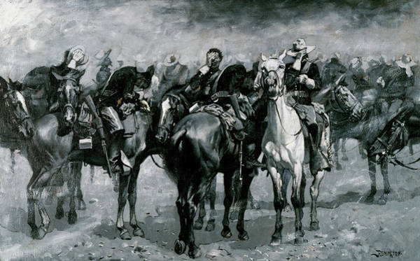 Wall Art - Painting - Cavalry In An Arizona Sand-storm by Frederic Remington