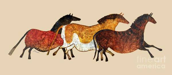 Wall Art - Painting - Cave Horses In Beige by Hailey E Herrera