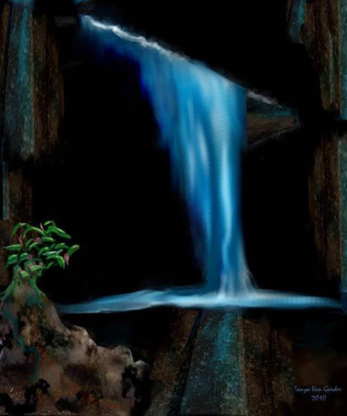 Water Plant Digital Art - Cave Waterfall by Tanya Van Gorder