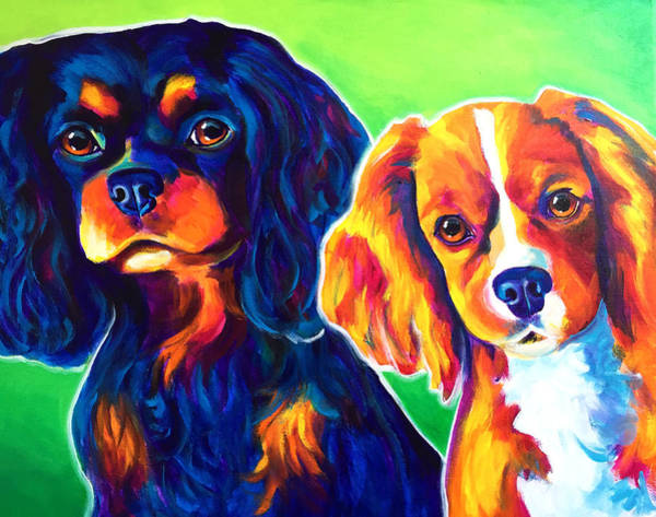 King Charles Spaniel Painting - Cavelier King Charles Spaniels - Saffy And Duck by Alicia VanNoy Call