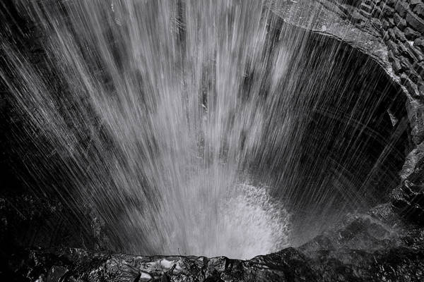 Cavern Photograph - Cavern Cascade - Black And White by Stephen Stookey
