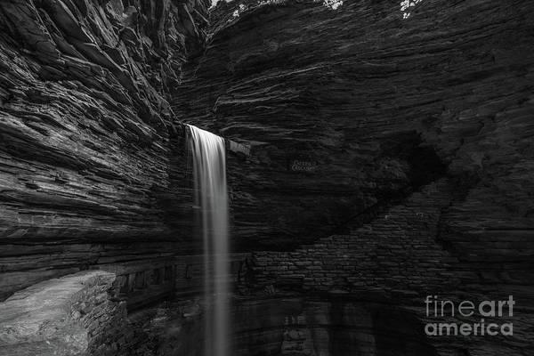 Watkins Glen Photograph - Cavern Cascade Waterfall Bw  by Michael Ver Sprill