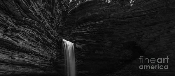 Watkins Glen Photograph - Cavern Cascade Waterfall Panorama Bw by Michael Ver Sprill