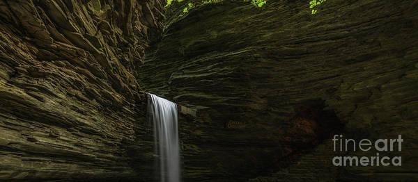 Watkins Glen Photograph - Cavern Cascade Waterfall Panorama by Michael Ver Sprill