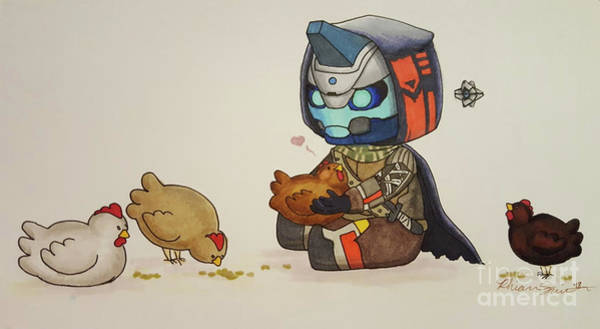 Inking Wall Art - Drawing - Cayde Loves Chickens by Rhiannon Smith