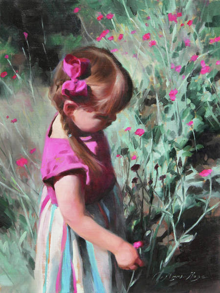 Flower Child Wall Art - Painting - Cecelia With Dianthus Blooms by Anna Rose Bain