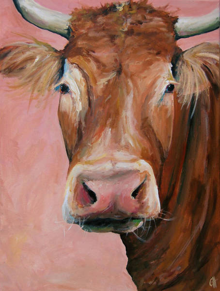 Wall Art - Painting - Cecilia The Cow by Cari Humphry