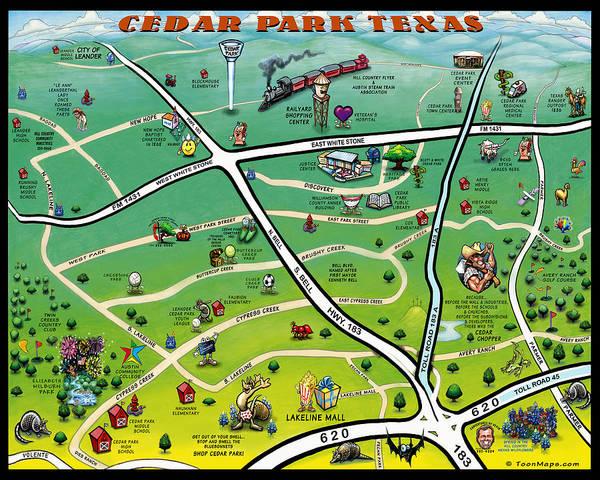 Cedar Park Texas Cartoon Map Art Print