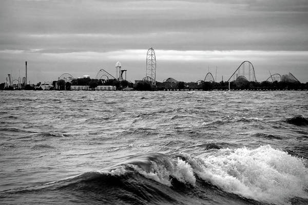 Photograph - Cedar Point On The Lake Black And White by Angela Murdock