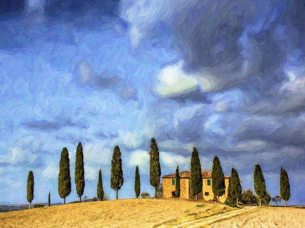 Painting - Cedars And Tuscan Villa by Dominic Piperata