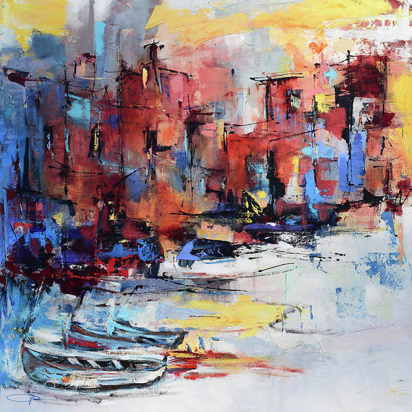 Fishing Boat Painting - Cefalu Seaside by Elise Palmigiani